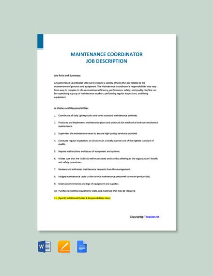 Free Maintenance Coordinator Job Description Template