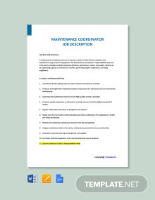 Free Maintenance Coordinator Job Description Template