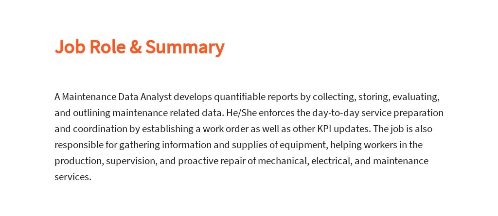 Free Maintenance Data Analyst Job Description Template 2.jpe