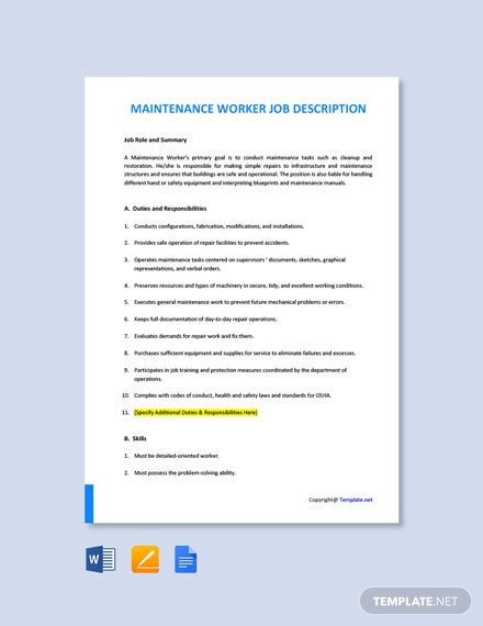 Free Maintenance Worker Job Description Template