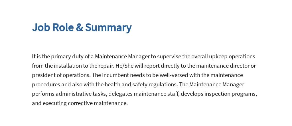 Free Maintenance Manager Job Description Template 2.jpe