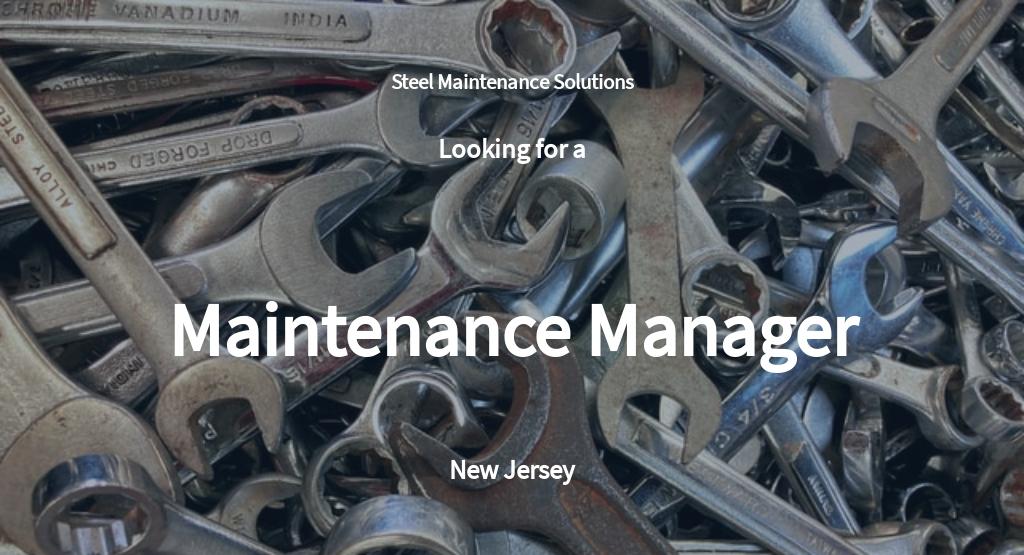 Maintenance Manager Job Description Template