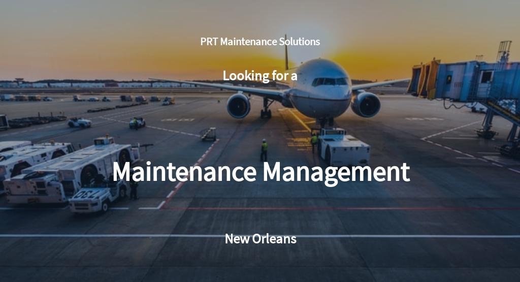 Maintenance Management Job Description Template