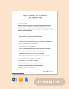 Free Maintenance Management Job Description Template