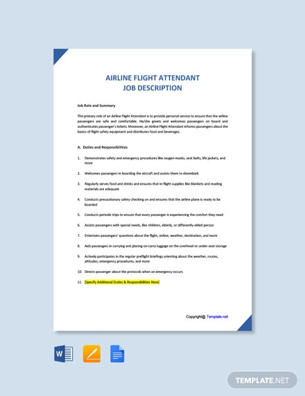 Free Airline Flight Attendant Job Ad and Description Template