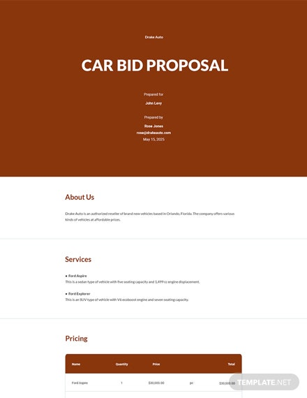 Car Bid Proposal Template