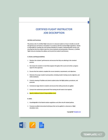 Free Certified Flight Instructor Job Ad and Description Template