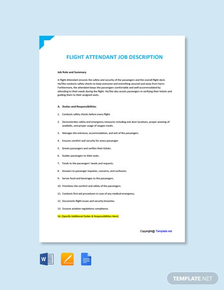 Free Flight Attendant Job Ad and Description Template