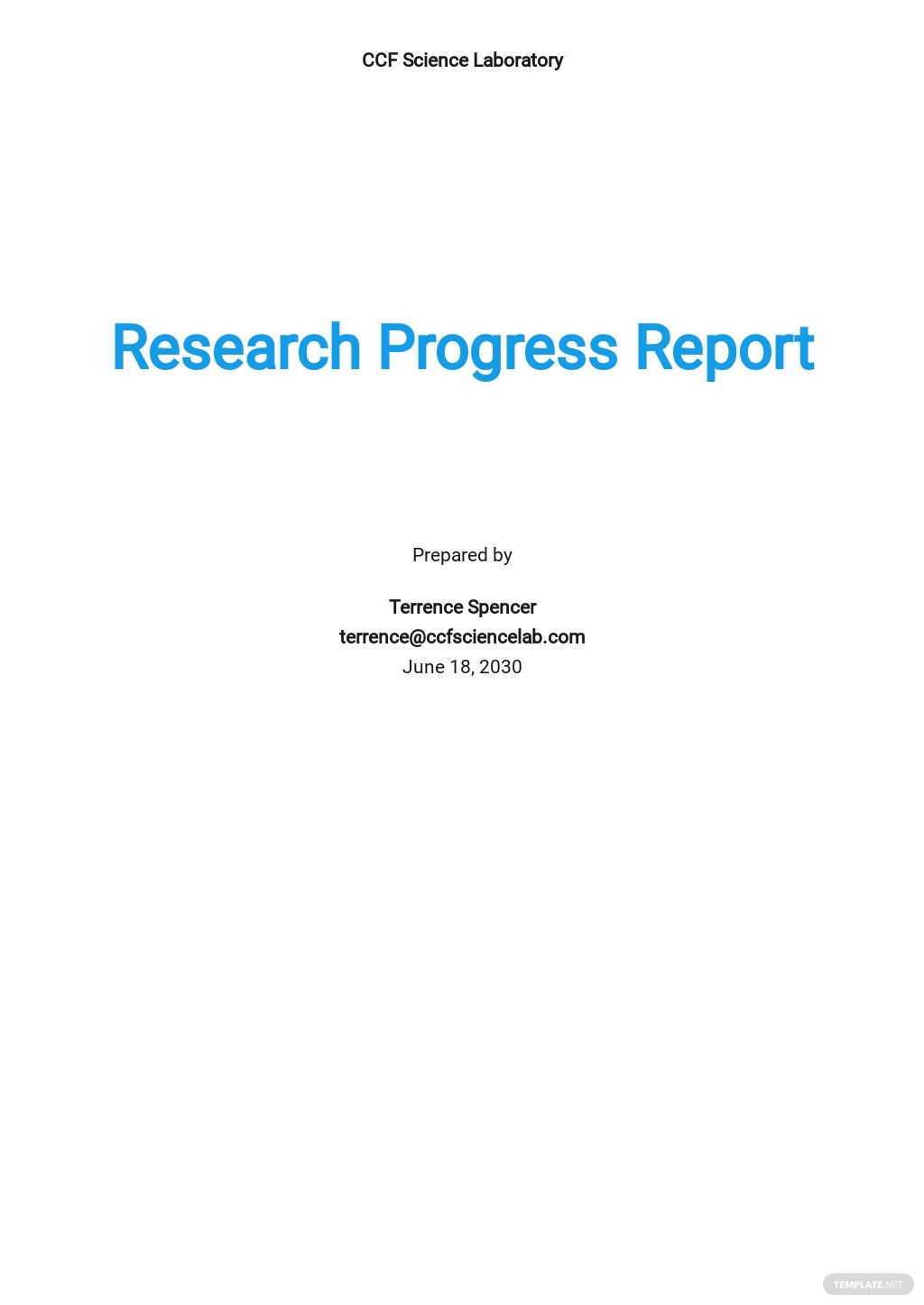 Research Progress Report Template