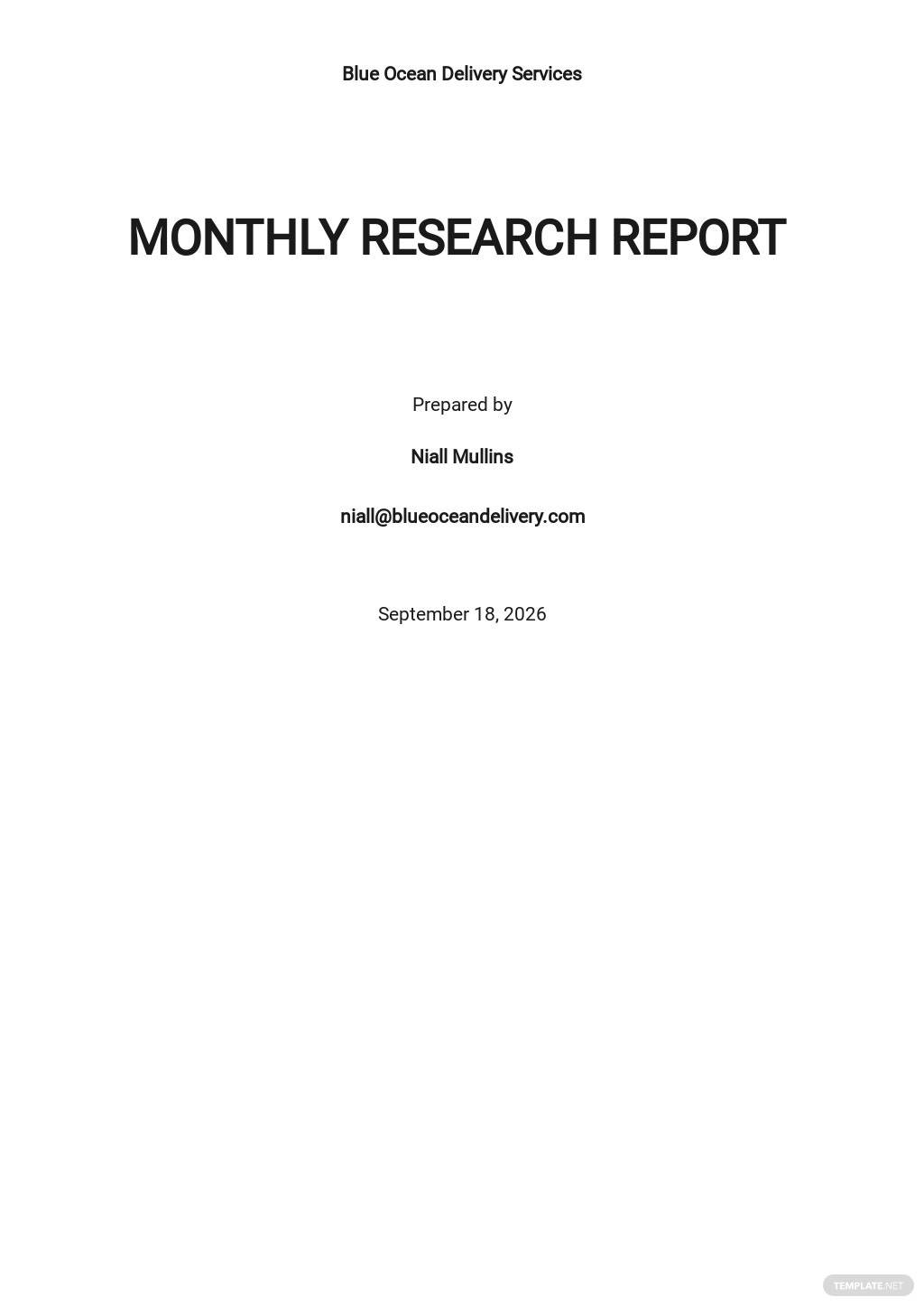 Monthly Research Report Template