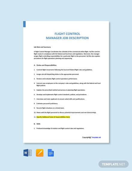 Free Flight Control Manager Job Description Template