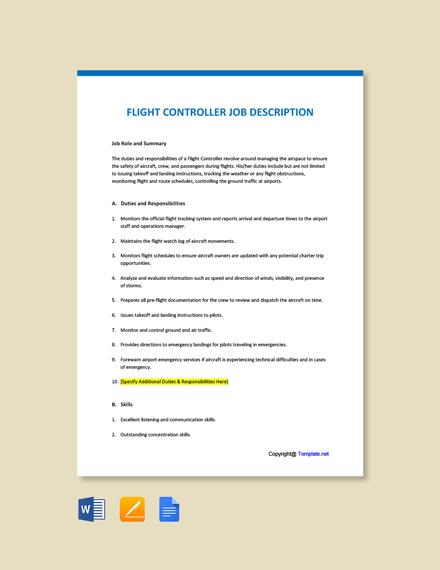 Free Flight Controller Job Ad and Description Template