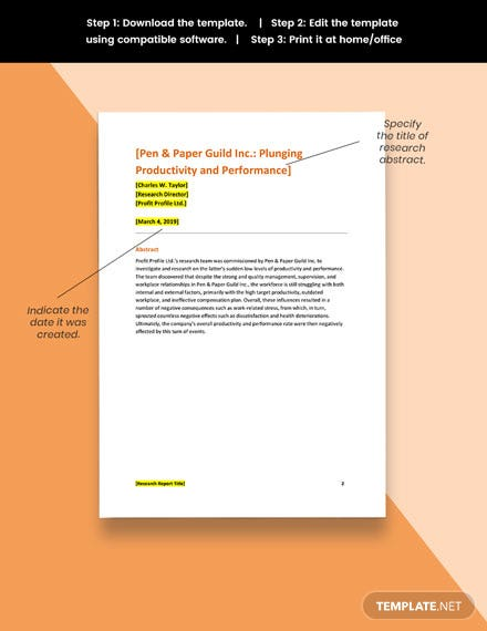 Company Research Report Template editable