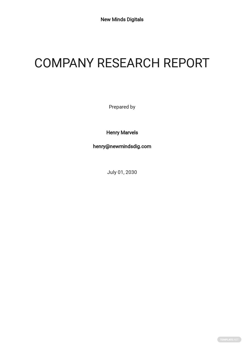 Company Research Report Template