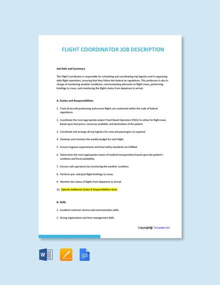 Free Flight Coordinator Job Ad and Description Template