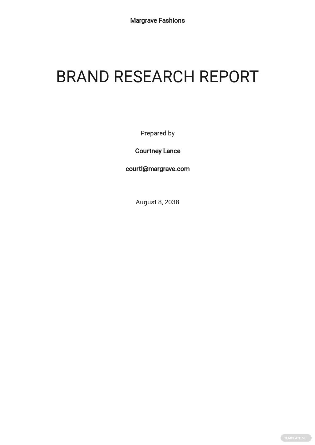 Brand Research Report Template