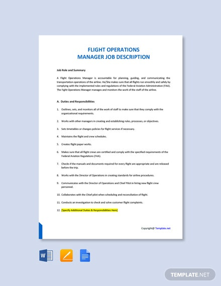 Free Flight Operations Manager Job Ad and Description Template