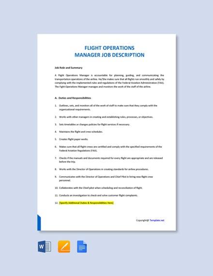 Free Flight Operations Manager Job Description Template
