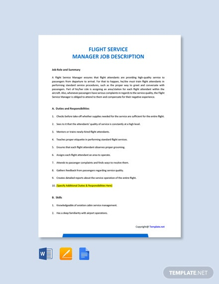 Free Flight Service Manager Job Ad and Description Template