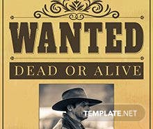 Free Black Wanted Poster Template