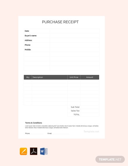 Free Purchase Receipt Template