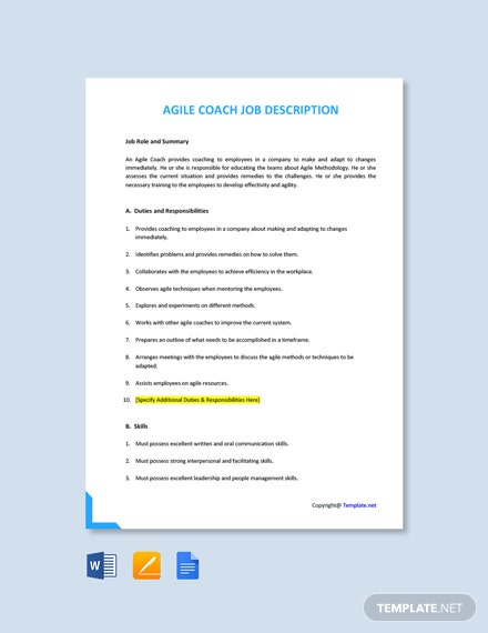 Free Agile Coach Job Ad and Description Template
