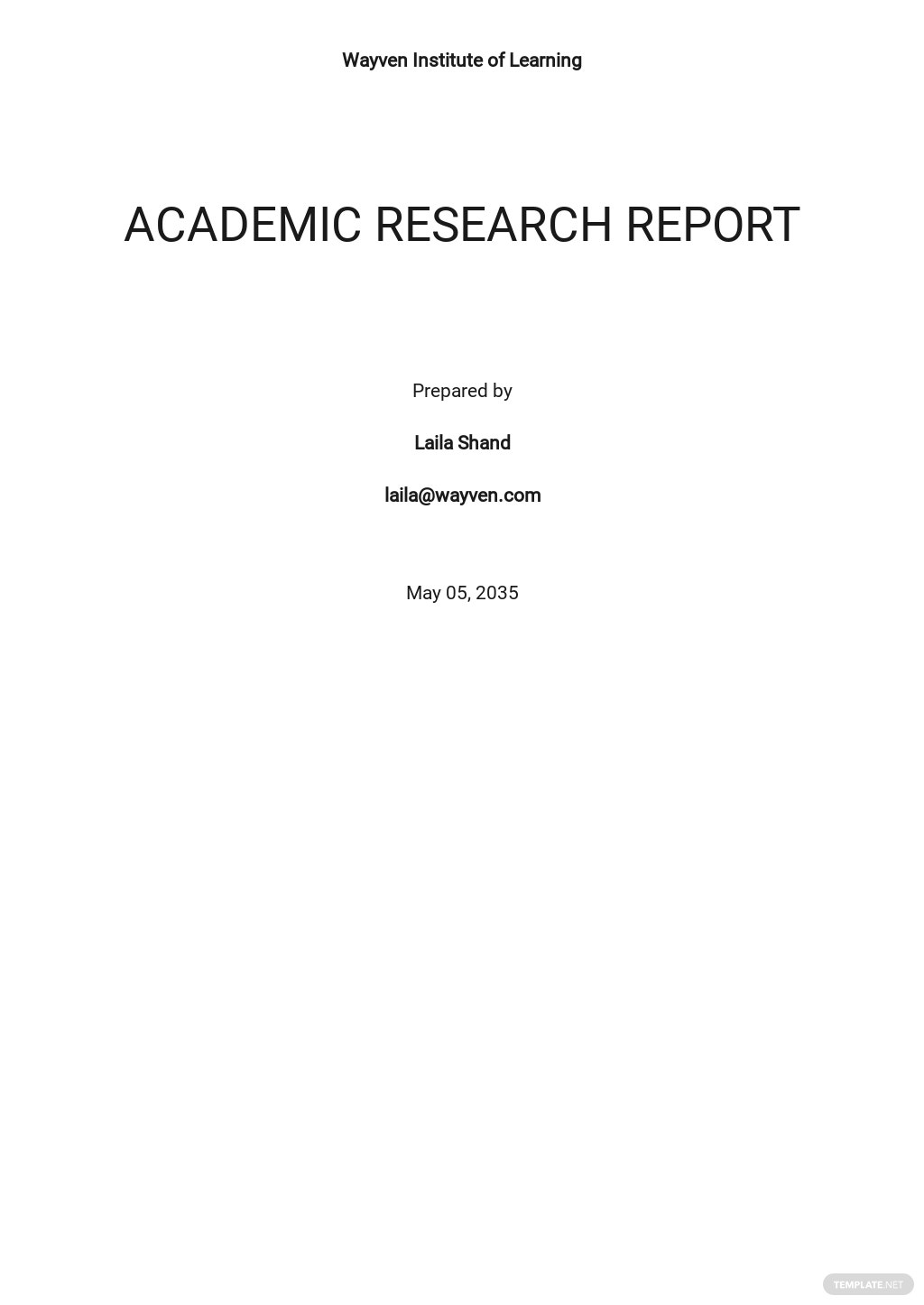 Academic Research Report Template