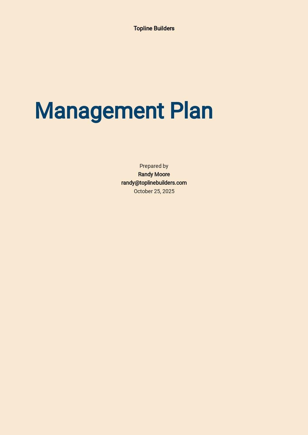 Construction Management Plan Template