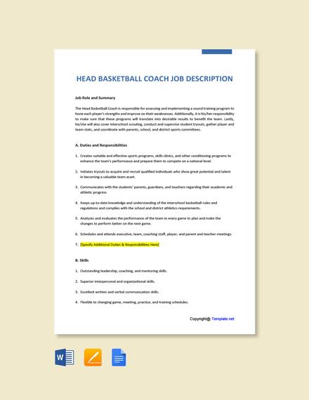 Free Head Basketball Coach Job Ad and Description Template