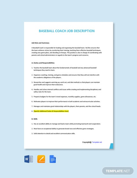 Free Baseball Coach Job Description Template