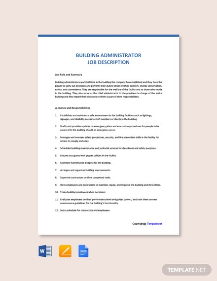 Free Building Administrator Job Ad and Description Template
