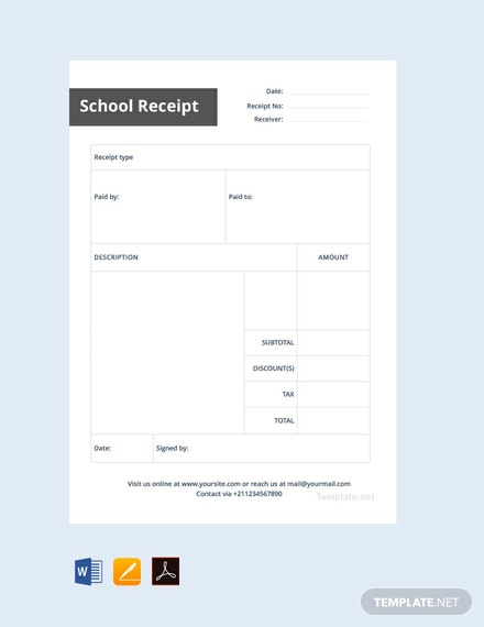 Free School Receipt Template