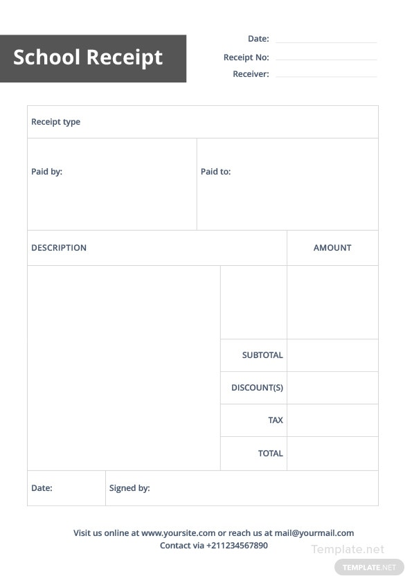 School Receipt Template In Microsoft Word Pdf Apple Pages