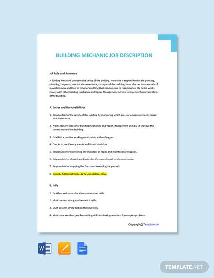 Free Building Mechanic Job Ad and Description Template