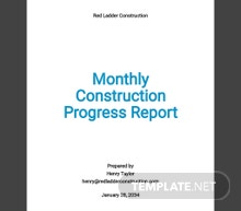 Monthly Construction Progress Report Template