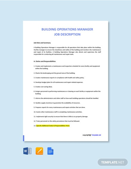 Free Building Operations Manager Job Ad and Description Template