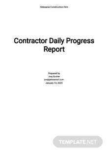 Contractor Daily Progress Report Template