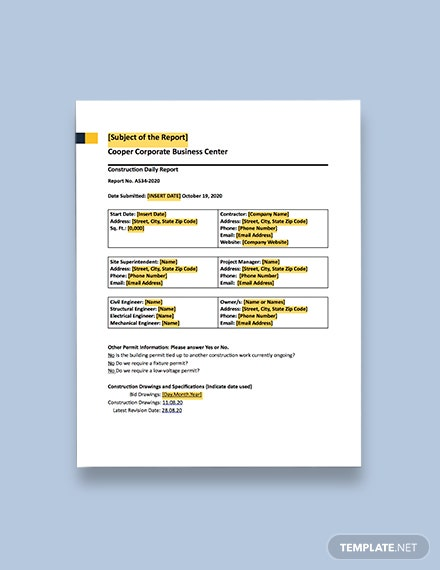 Contractor Construction Daily Report Format