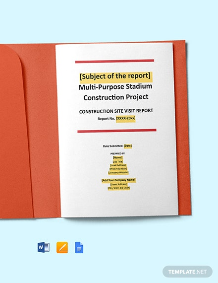Construction Site Visit Report Template