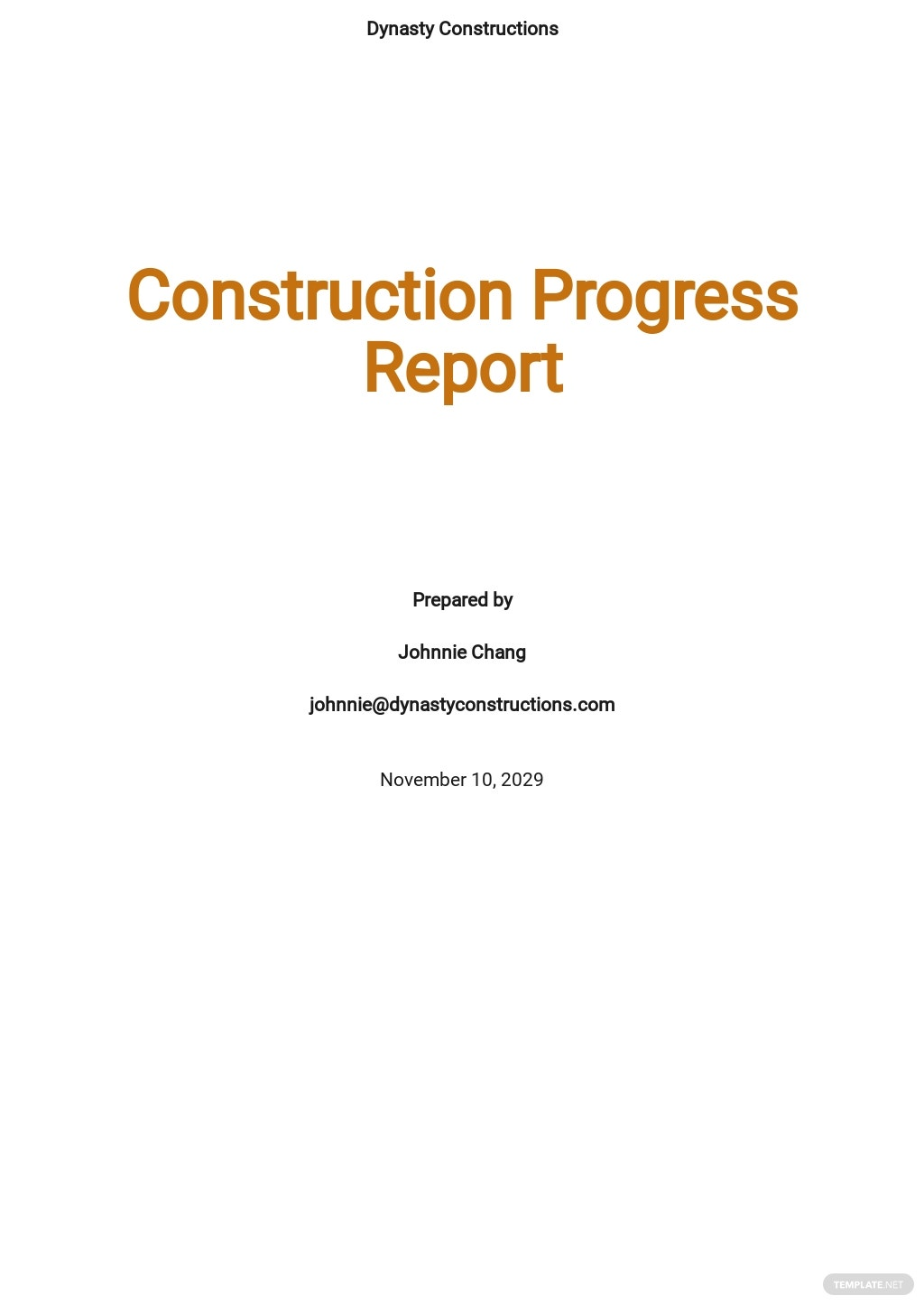 Construction Progress Report Template