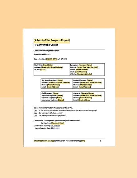 construction inspection report template progress free