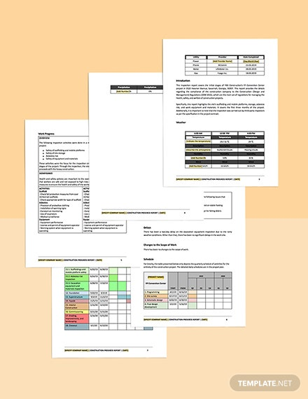 construction inspection report template snippet