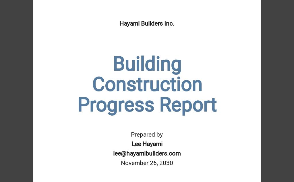 Building Construction Progress Report Template