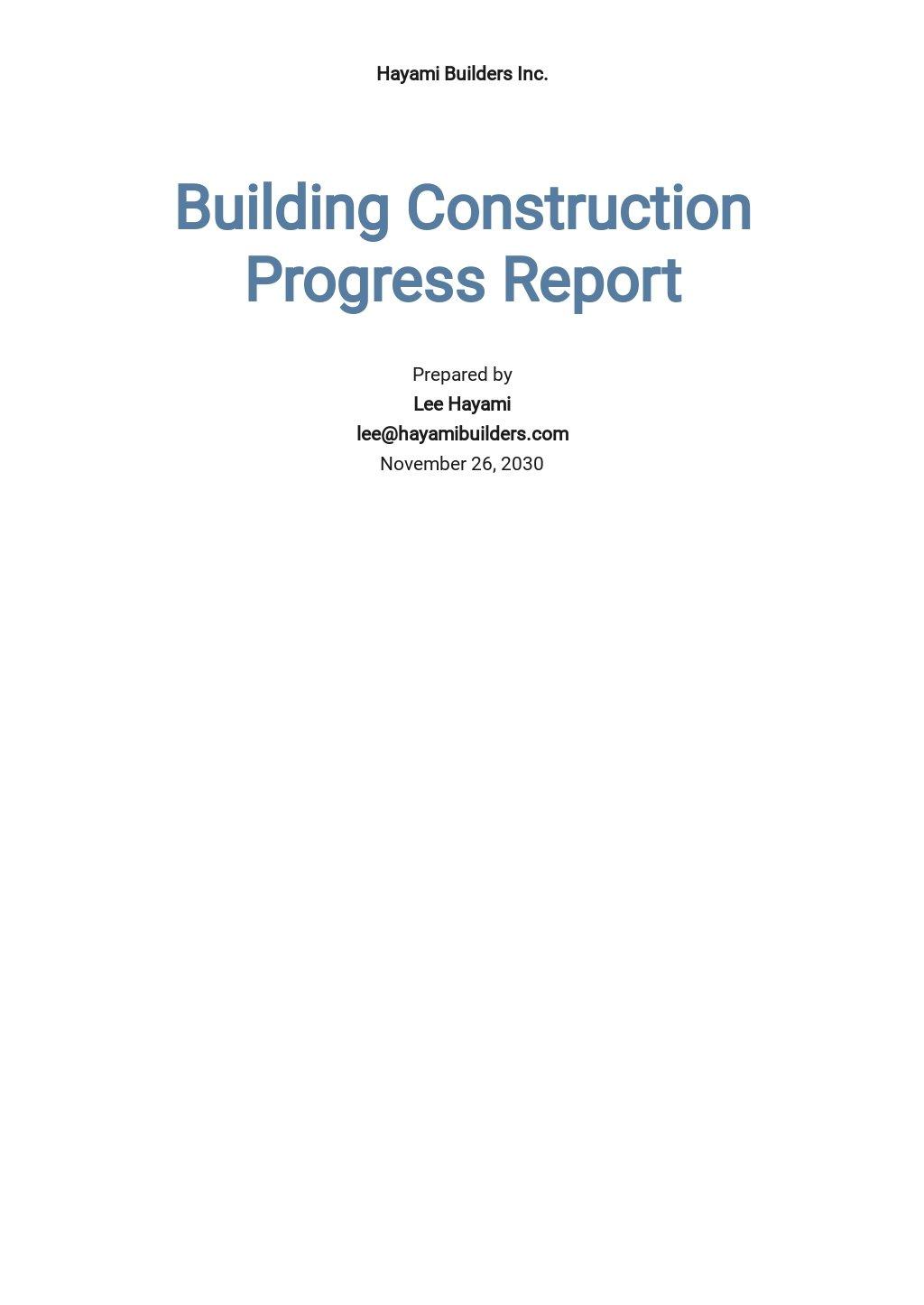 Building Construction Progress Report Template.jpe