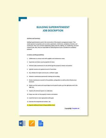 Free Building Superintendent Job Ad and Description Template