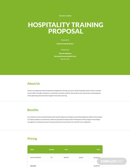 Hospitality Training Proposal Template
