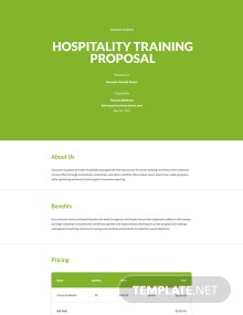 Hospitality Training Proposal Template