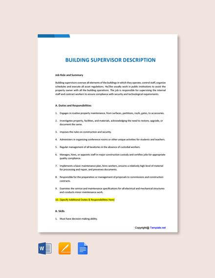 Free Building Supervisor Job Description Template