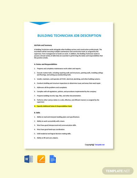 Building Technician Job Description Template