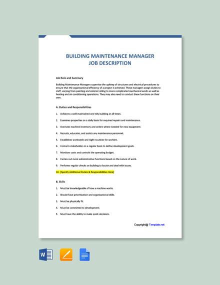 Free Building Maintenance Manager Job Description Template